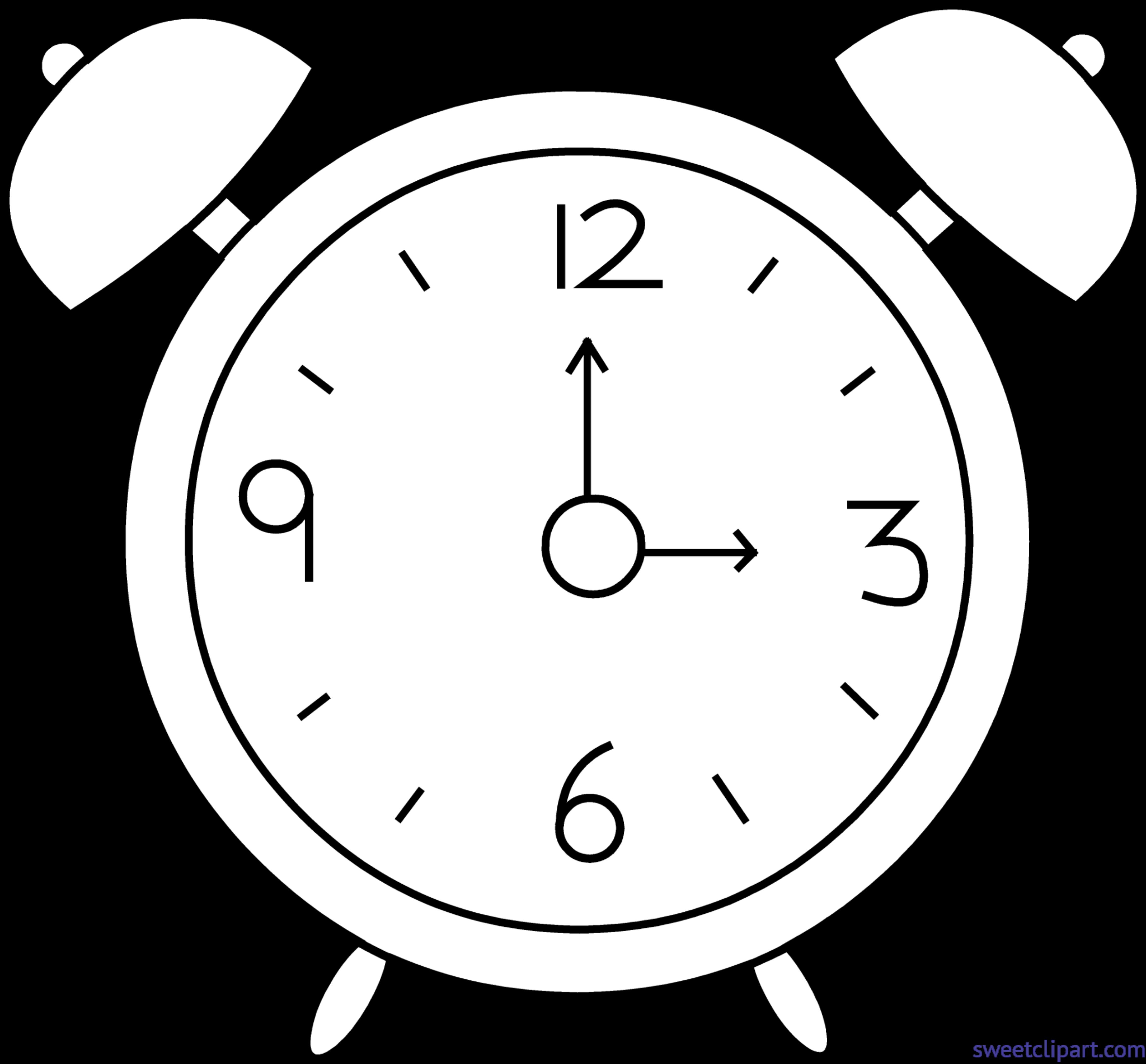 Clock lineart clip art. Clocks clipart alarm