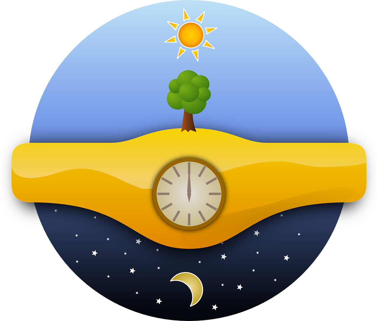 Two techniques for telling. Sunny clipart noon time