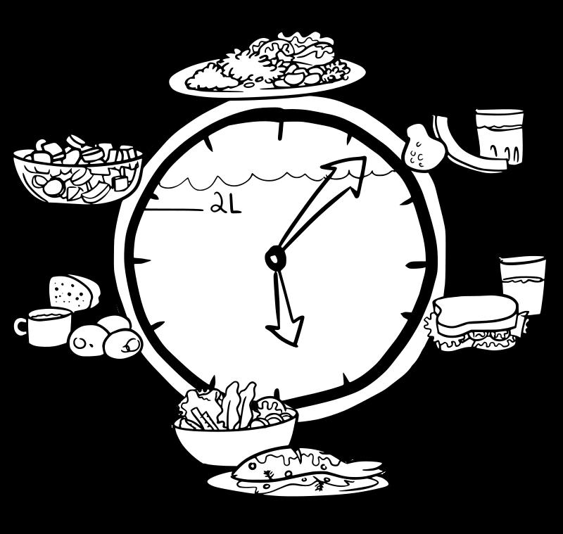 Clocks clipart food. Clock no colour medium