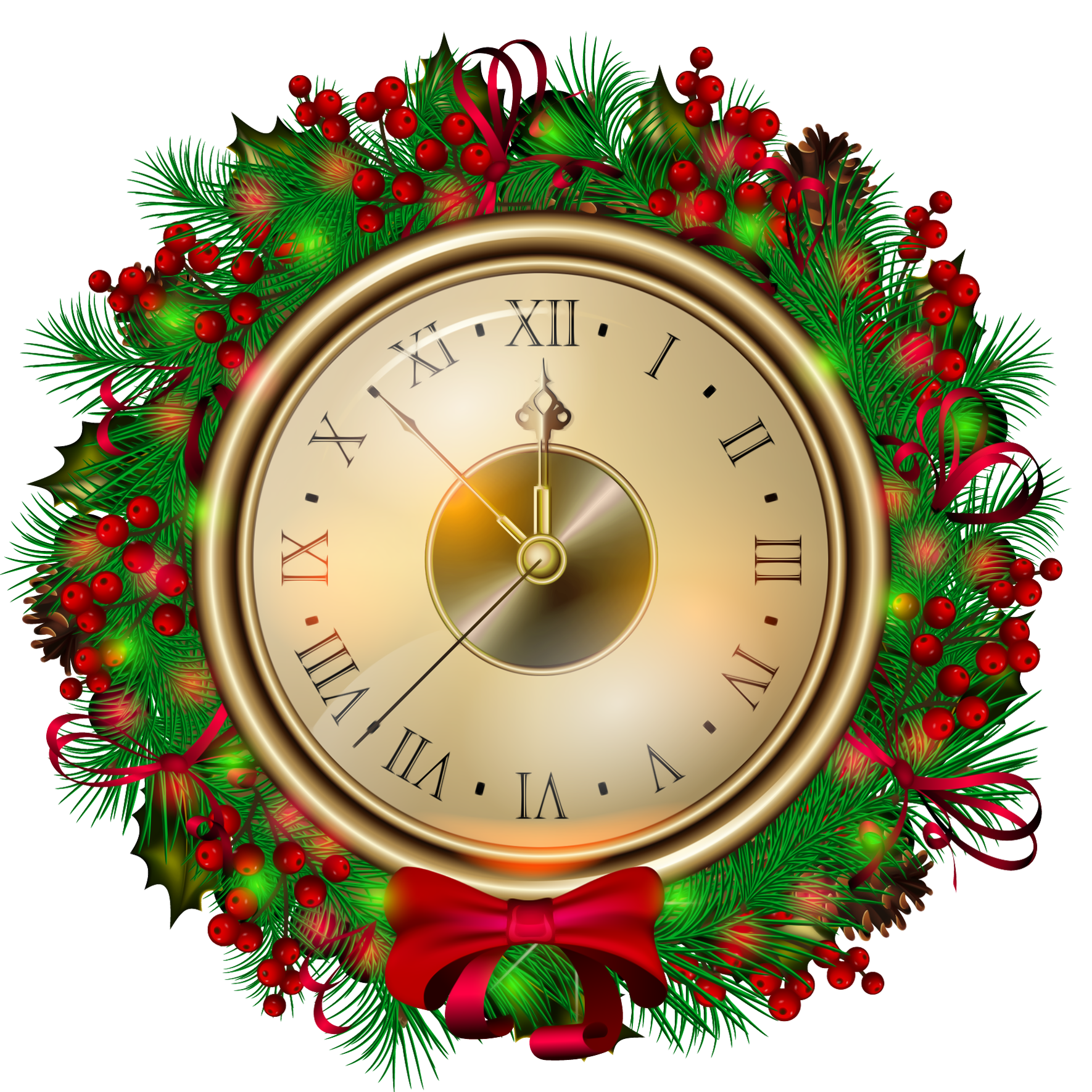 Attractive wall clock designs. Clocks clipart christmas