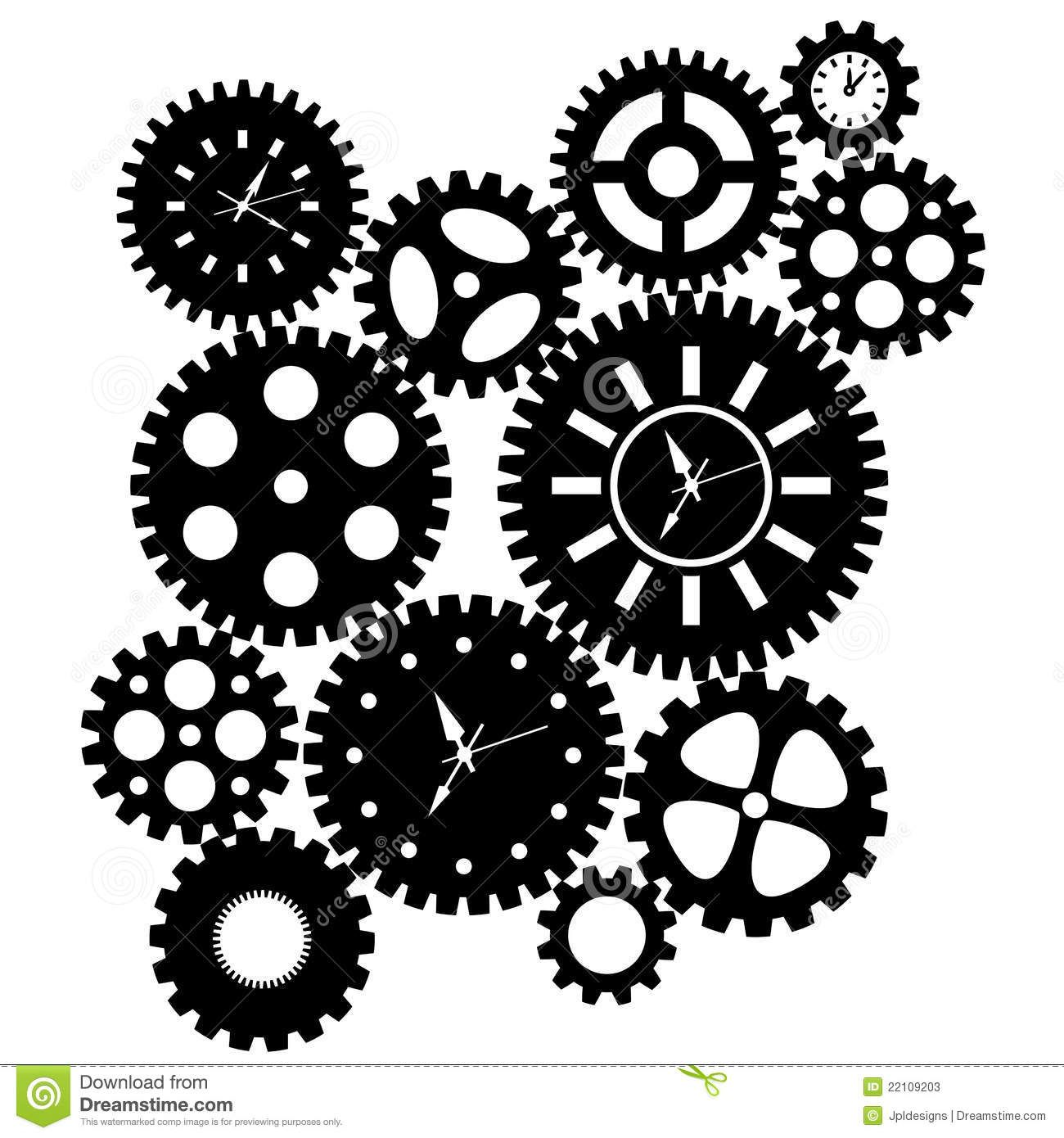 Time clock download from. Gears clipart cool