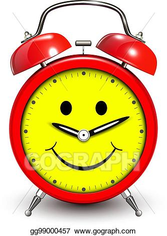 Eps vector alarm and. Clock clipart happy