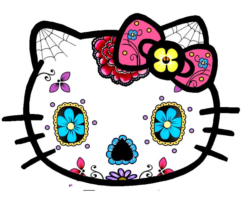 Clipart clock hello kitty. Sugar skull not a