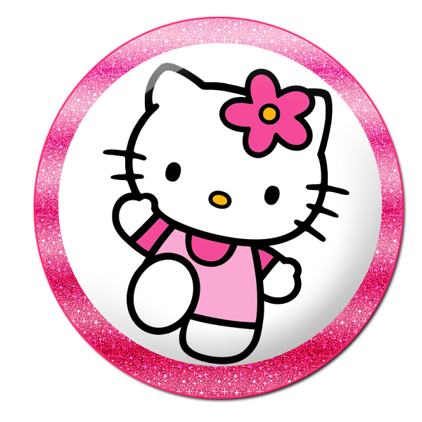 Buttons labels and toppers. Clipart clock hello kitty