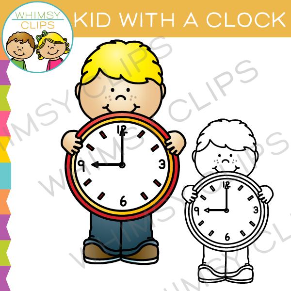 Kid with a clock. Clocks clipart cute