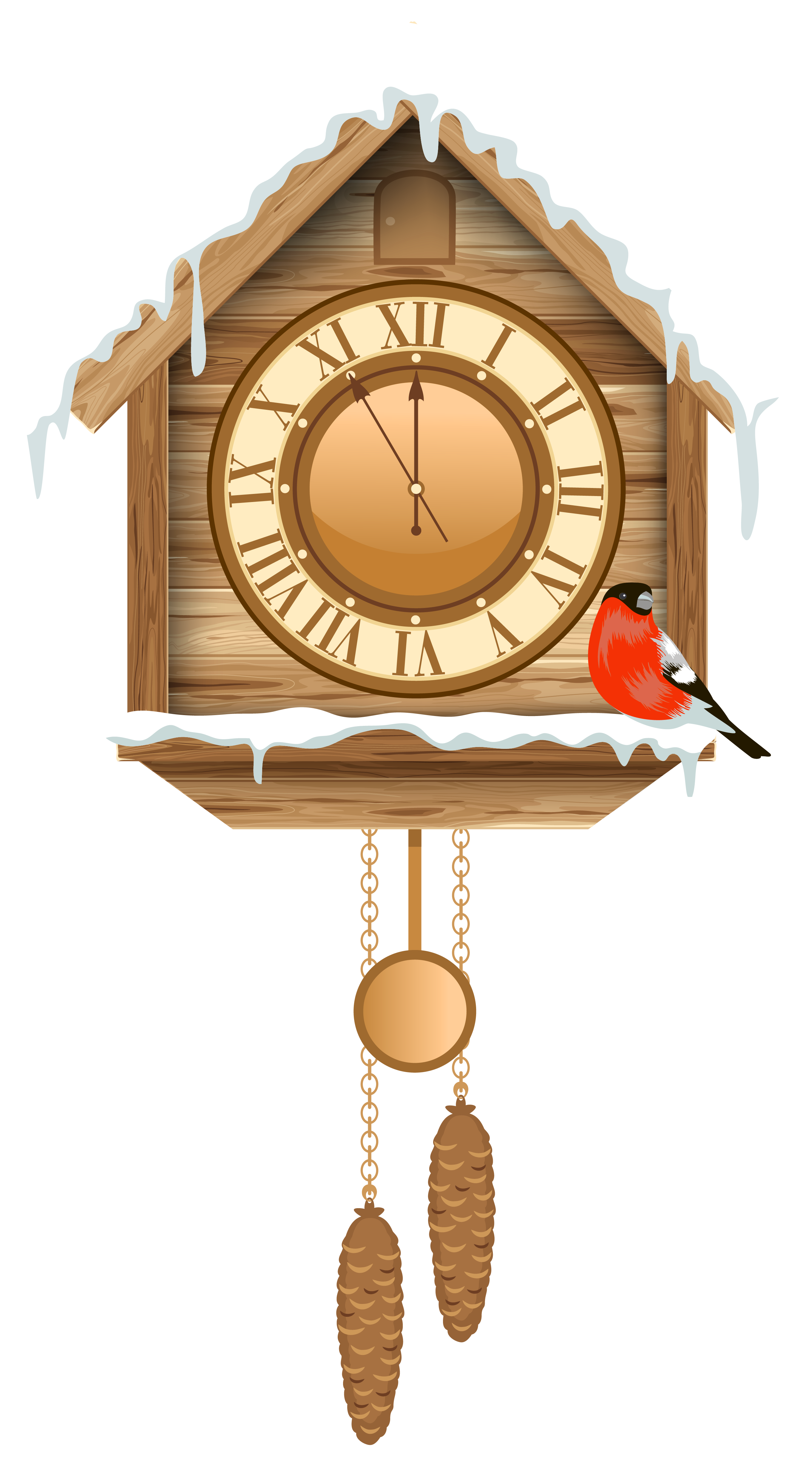 Christmas cuckoo with snow. Clock clipart orange