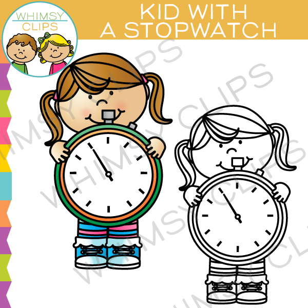 Clocks clipart kid png. With a stopwatch clip