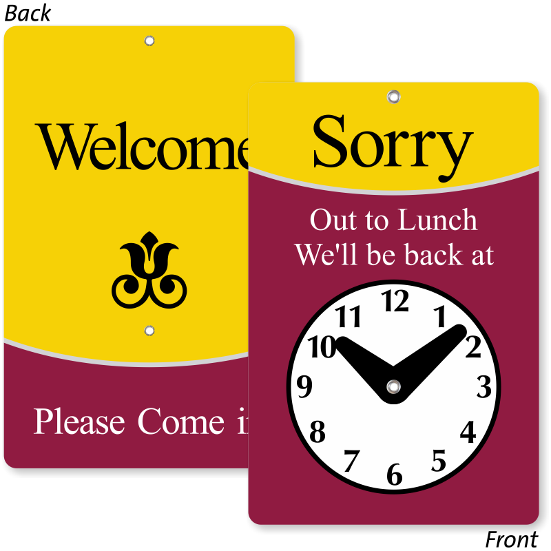 Lunchbox clipart lunch hour. Clock signs will return