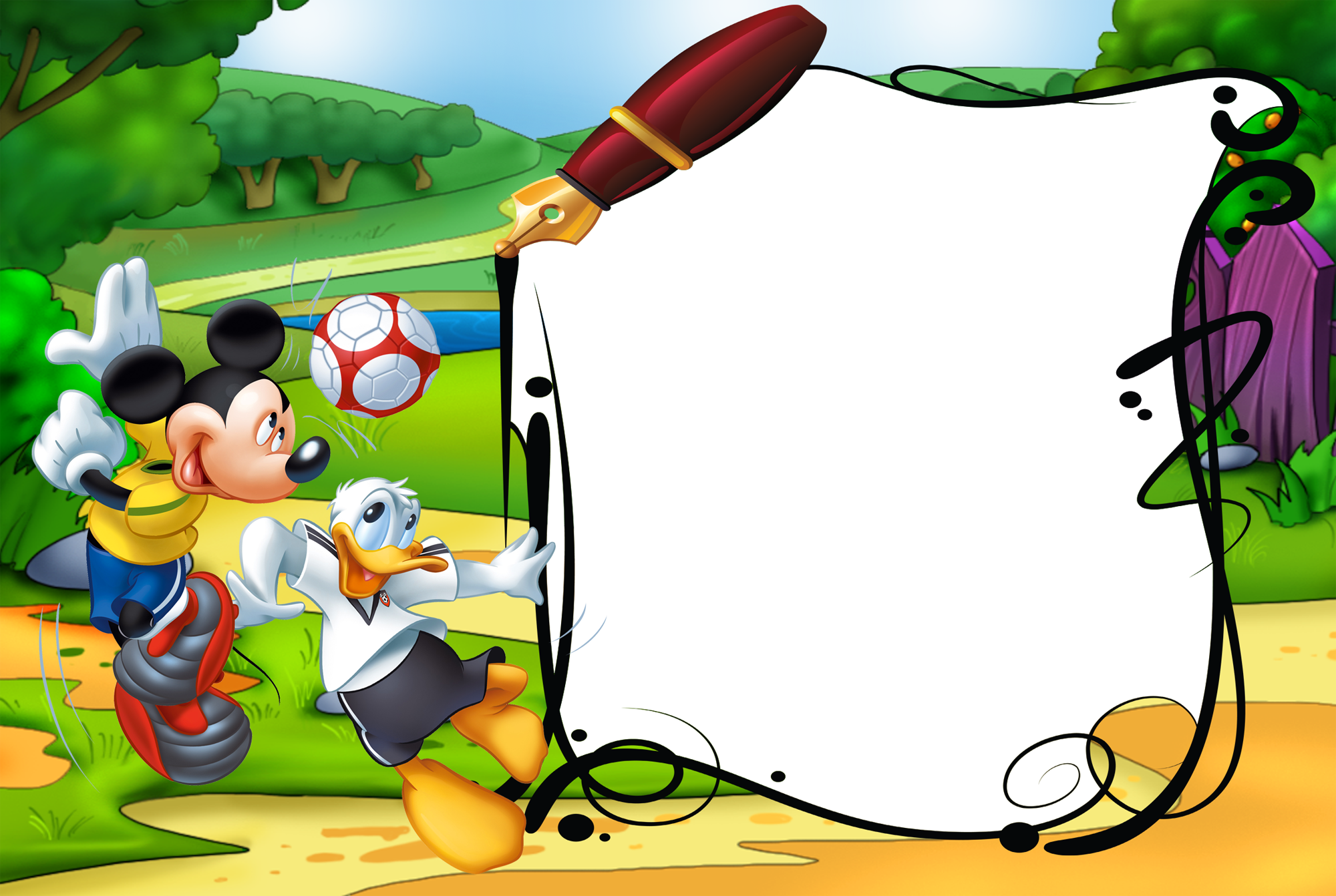 Minion clipart frame. Mickey mouse and duck