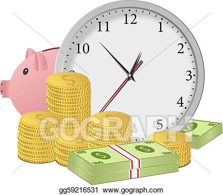 Clocks clipart money. Vector art time is