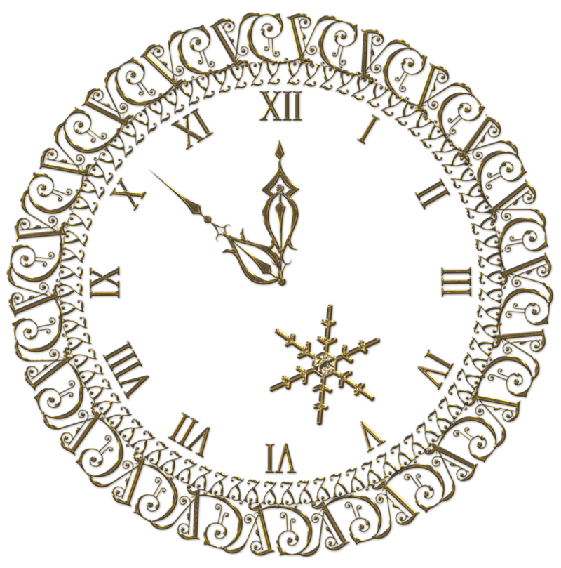 Clock clipart happy. New year png gold