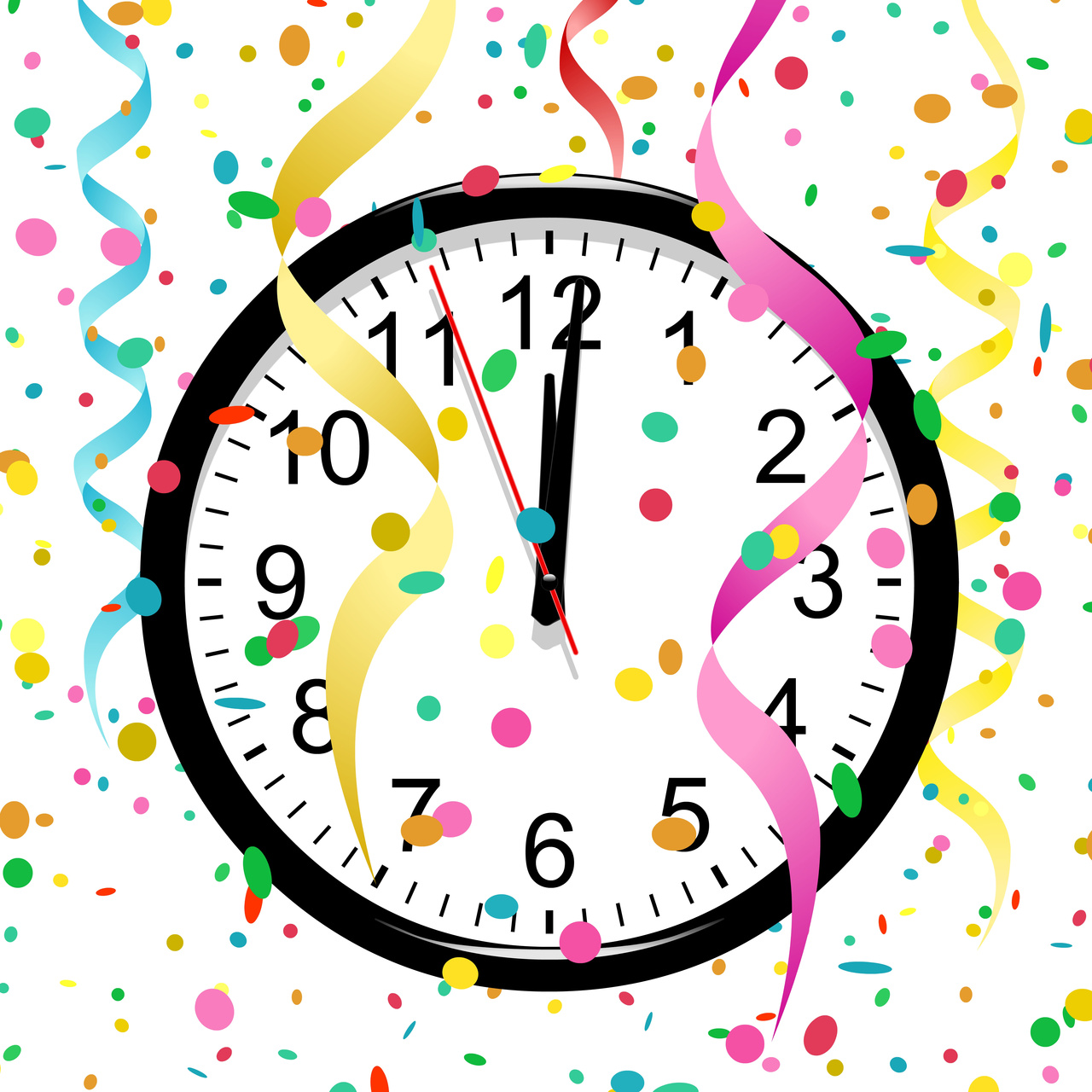 Free pictures of years. Clock clipart new year's eve