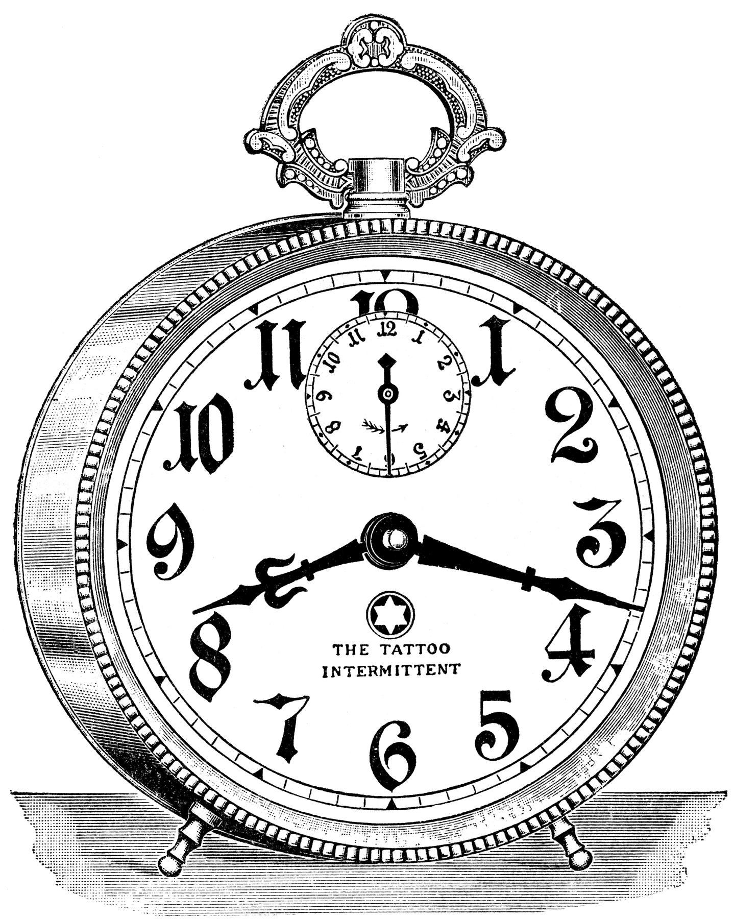 graphics vintage alarm. Steampunk clipart retro clock