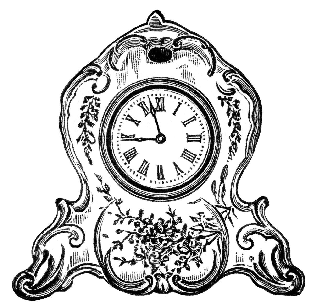 Clocks clipart old fashioned. Vintage clock black and