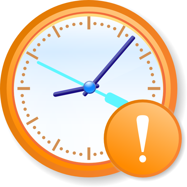 Analog warning clip art. Clock clipart orange