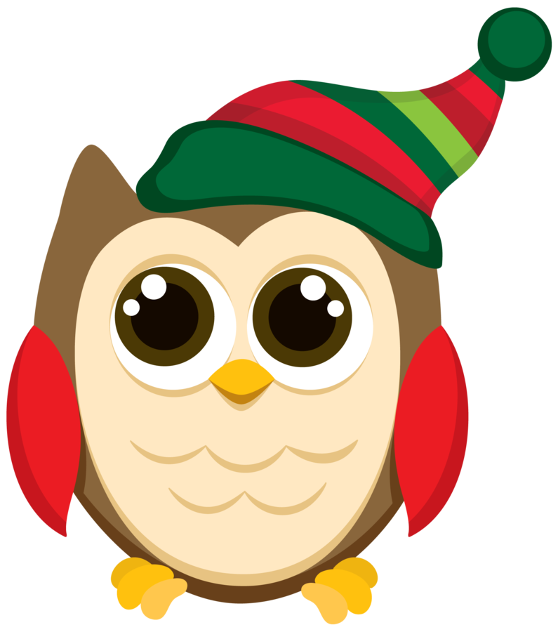 Christmas owls clip art. December clipart owl