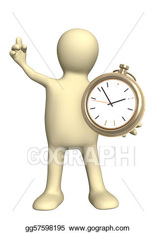 Stock illustration with clock. Clocks clipart puppet