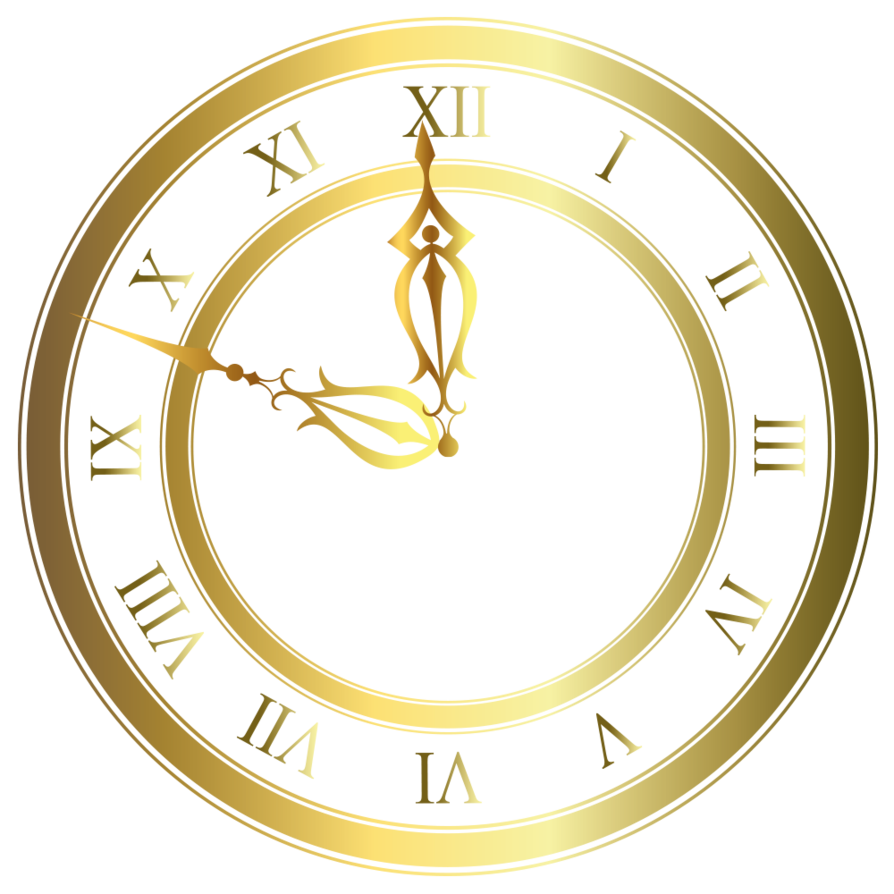 Clipart clock student. Gold vector by lyotta