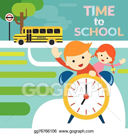 Clock clipart student. Vector boy girl riding