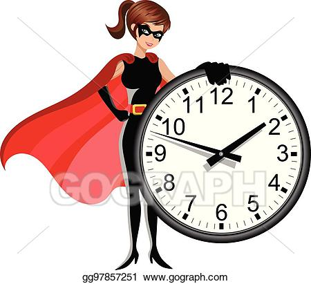 Eps illustration woman wall. Clocks clipart superhero
