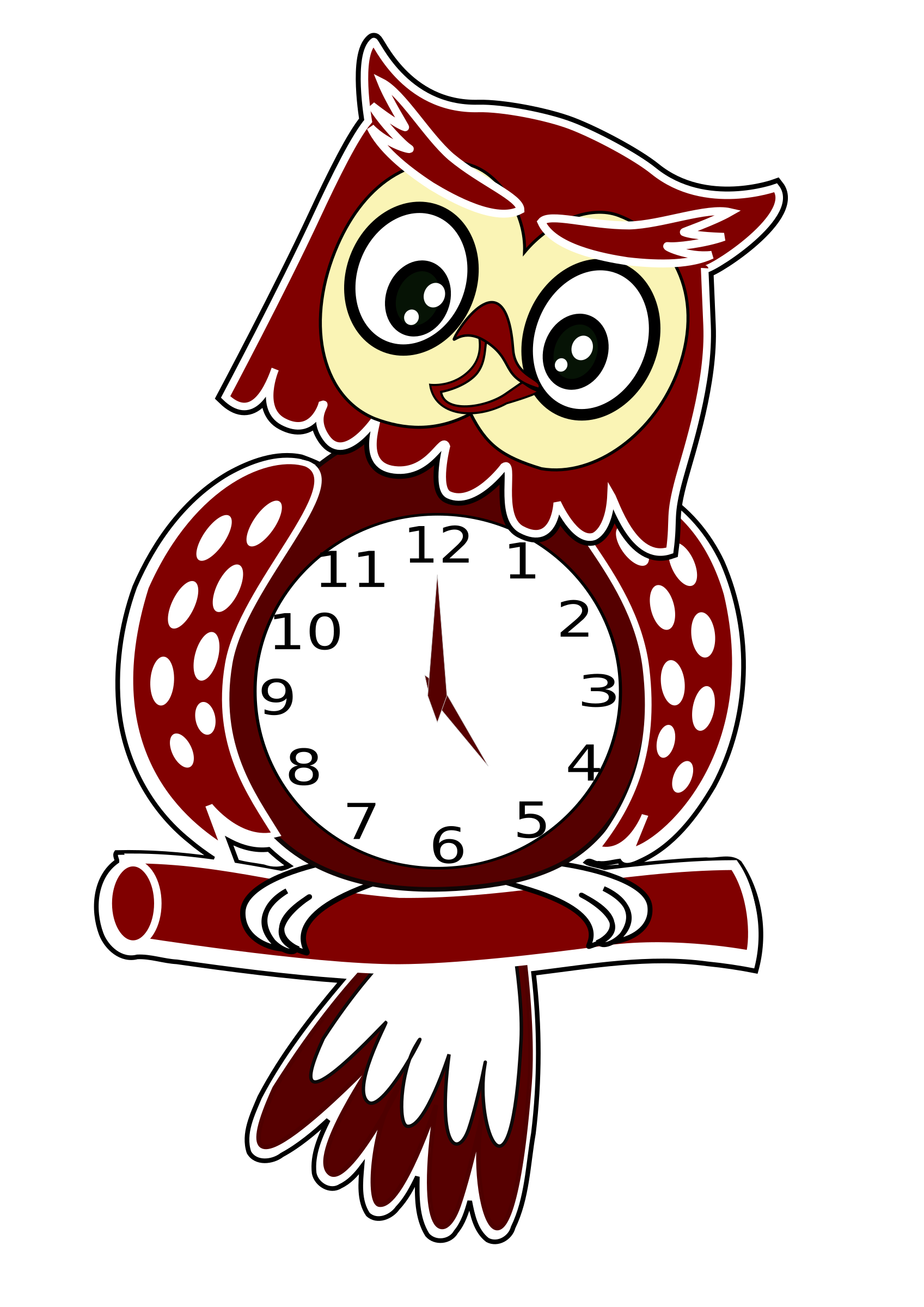 Animated owl clock big. Moving clipart fruit