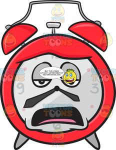 Tired clipart clock. Alarm looking bored and