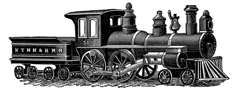 Free vintage digital stamps. Clipart rocket train