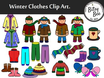 Clipart clothes. Freebie winter clip art