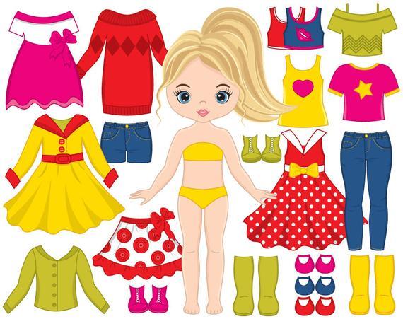 Dolls clipart vector. Paper doll dress girl