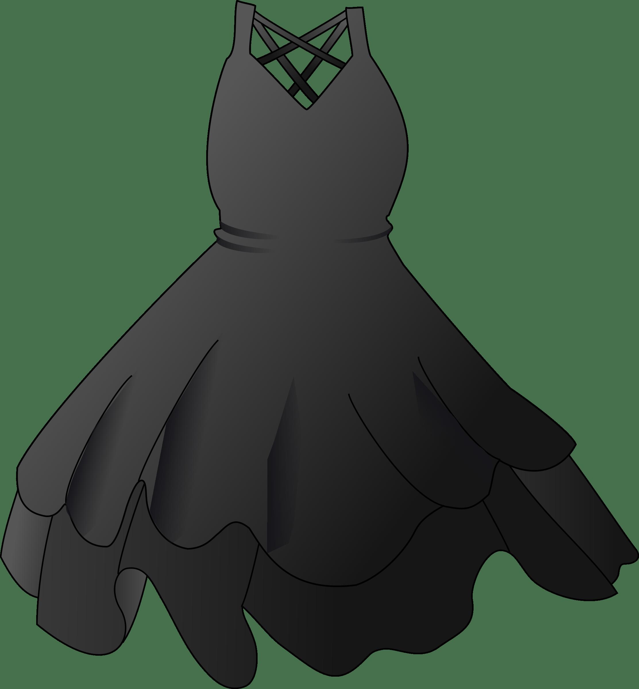 Black party dress transparent. Costume clipart clothing