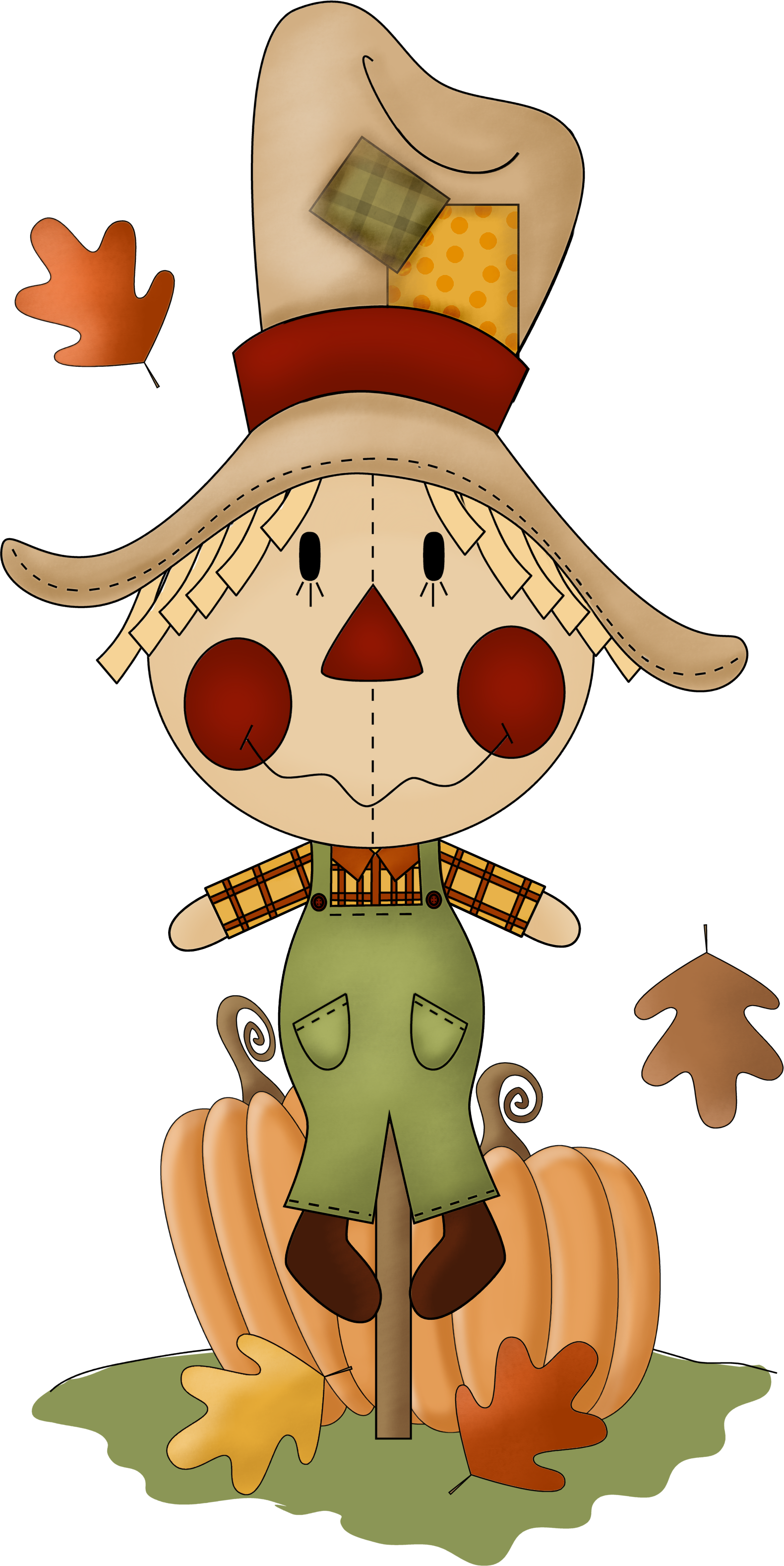 Scarecrow clip art fall. October clipart trick or treater