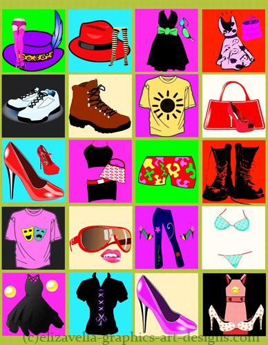 Clothing digital art downloads. Clothes clipart collage