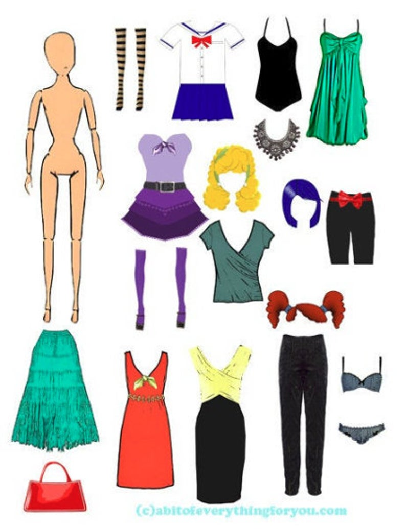 Clothes clipart collage. Paper doll and sheet