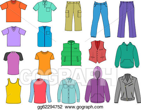 Clothing clipart colorful clothes. Vector art man colored