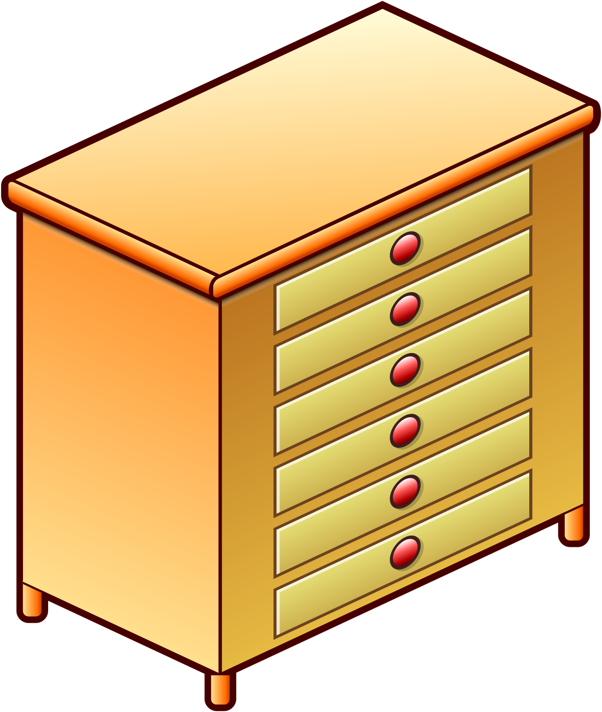 Furniture clipart chest drawer. Of drawers simple english