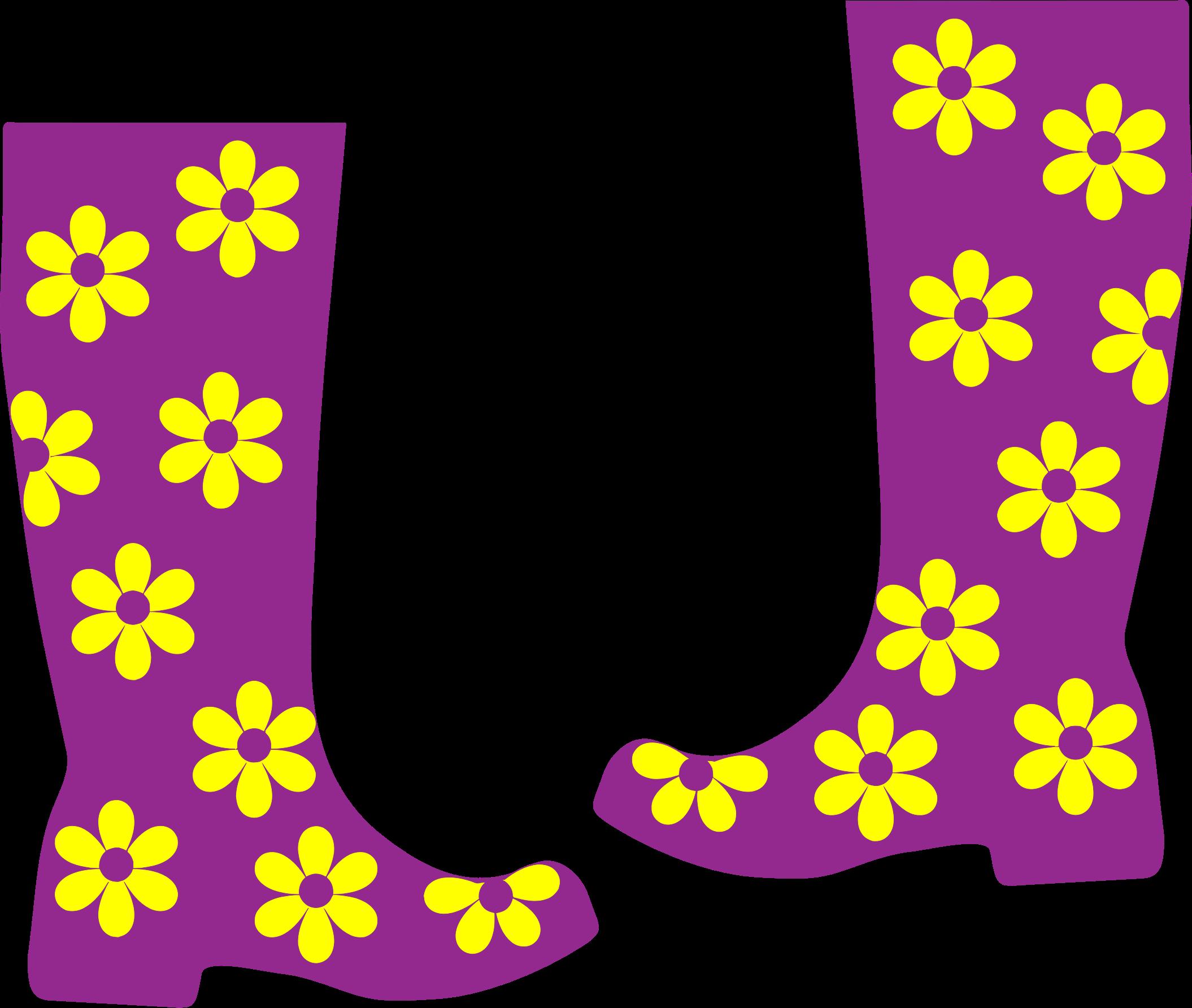 Rain boots big image. Clothes clipart floral