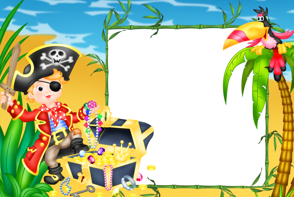 Kids transparen piarate photo. Pirates clipart picture frame