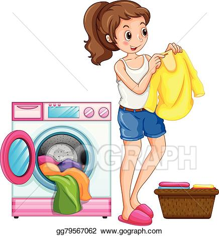 Clothing clipart house. Vector art woman washing