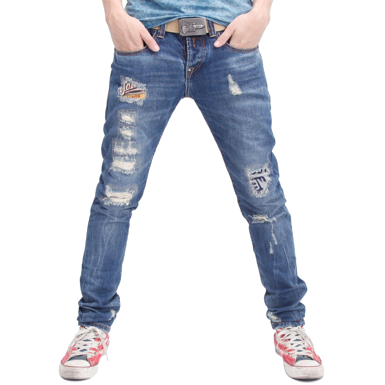Man with blue isolated. Clipart clothes jeans