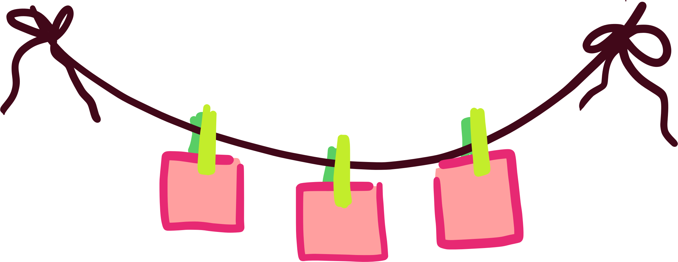 Clothesline with held by. Paper clipart pape