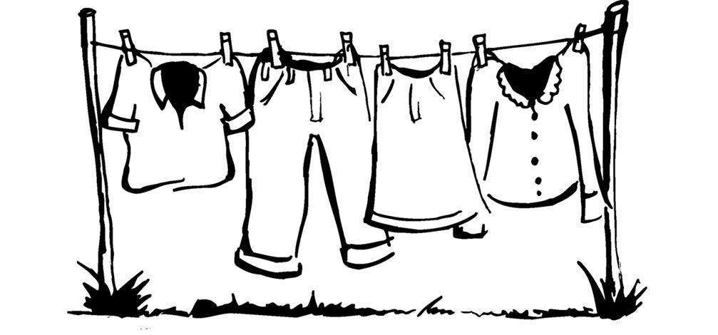 Clothes clipart line. Clothesline drawing the cartoon
