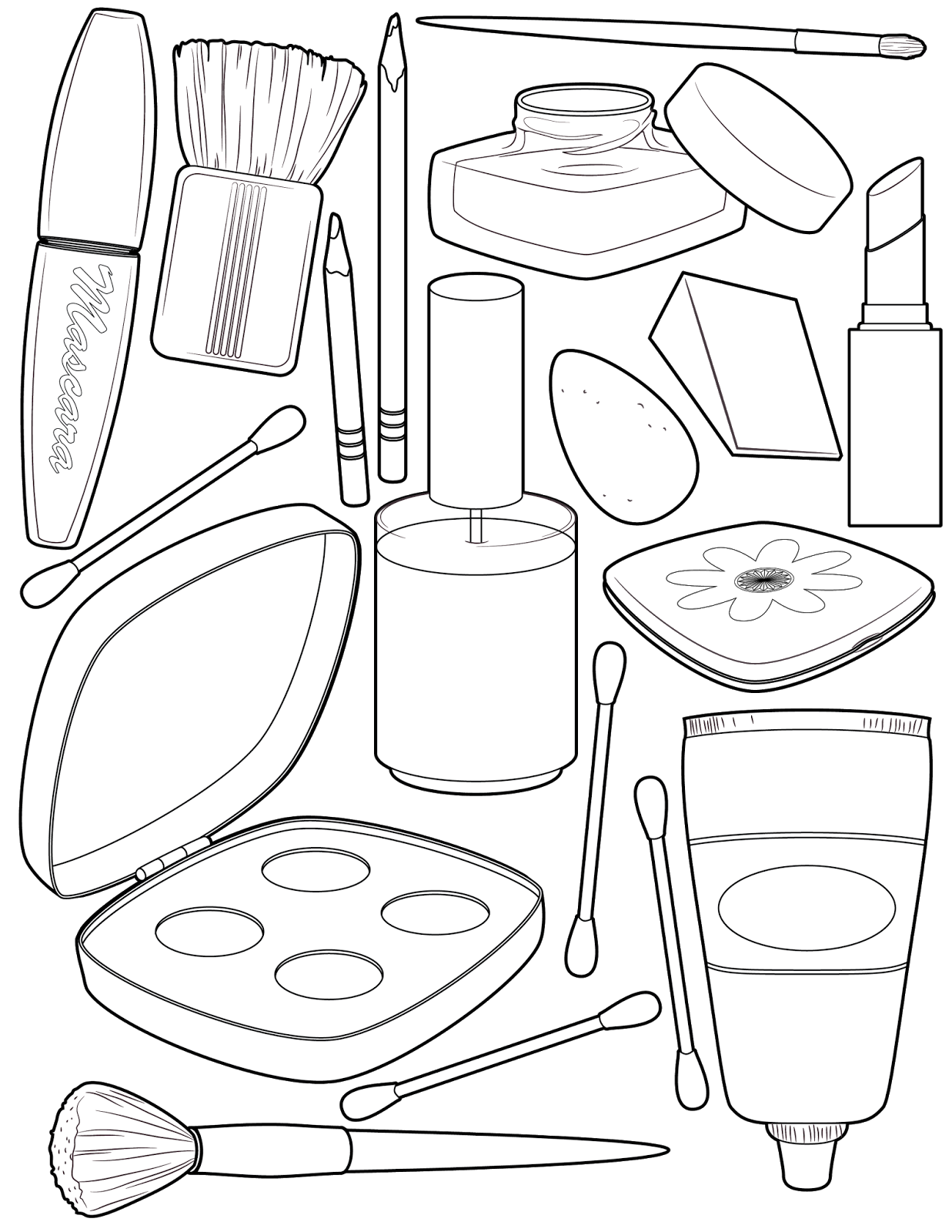Lock clipart colouring. Makeup coloring page illustration