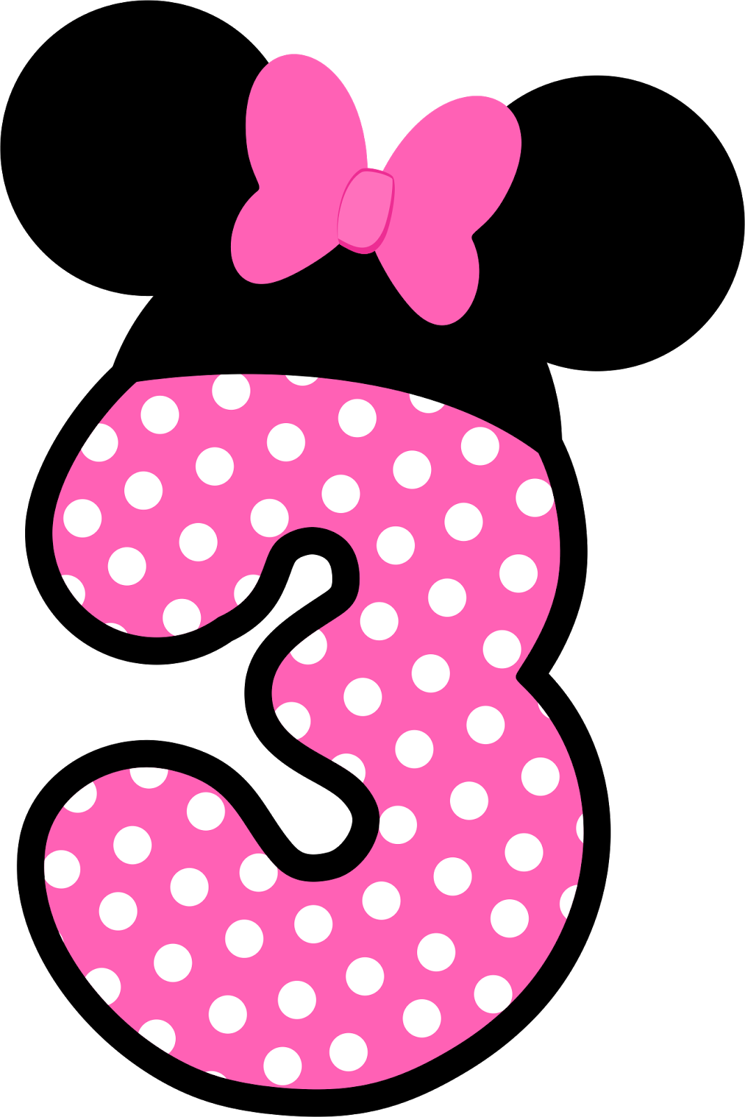 Number 3 Clipart Minnie Mouse  Number 3 Minnie Mouse