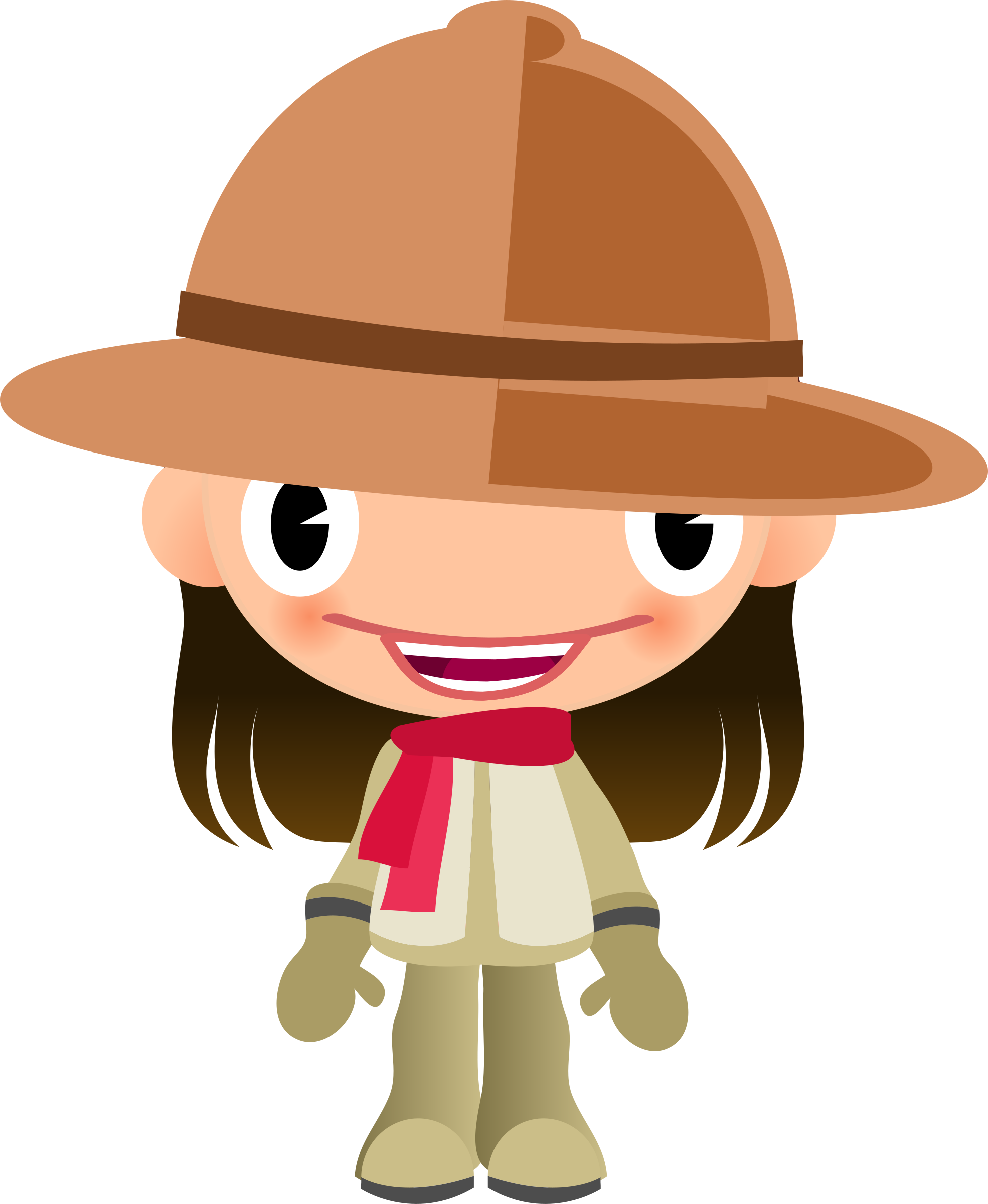 Talking girl in clothes. Explorer clipart safari trip