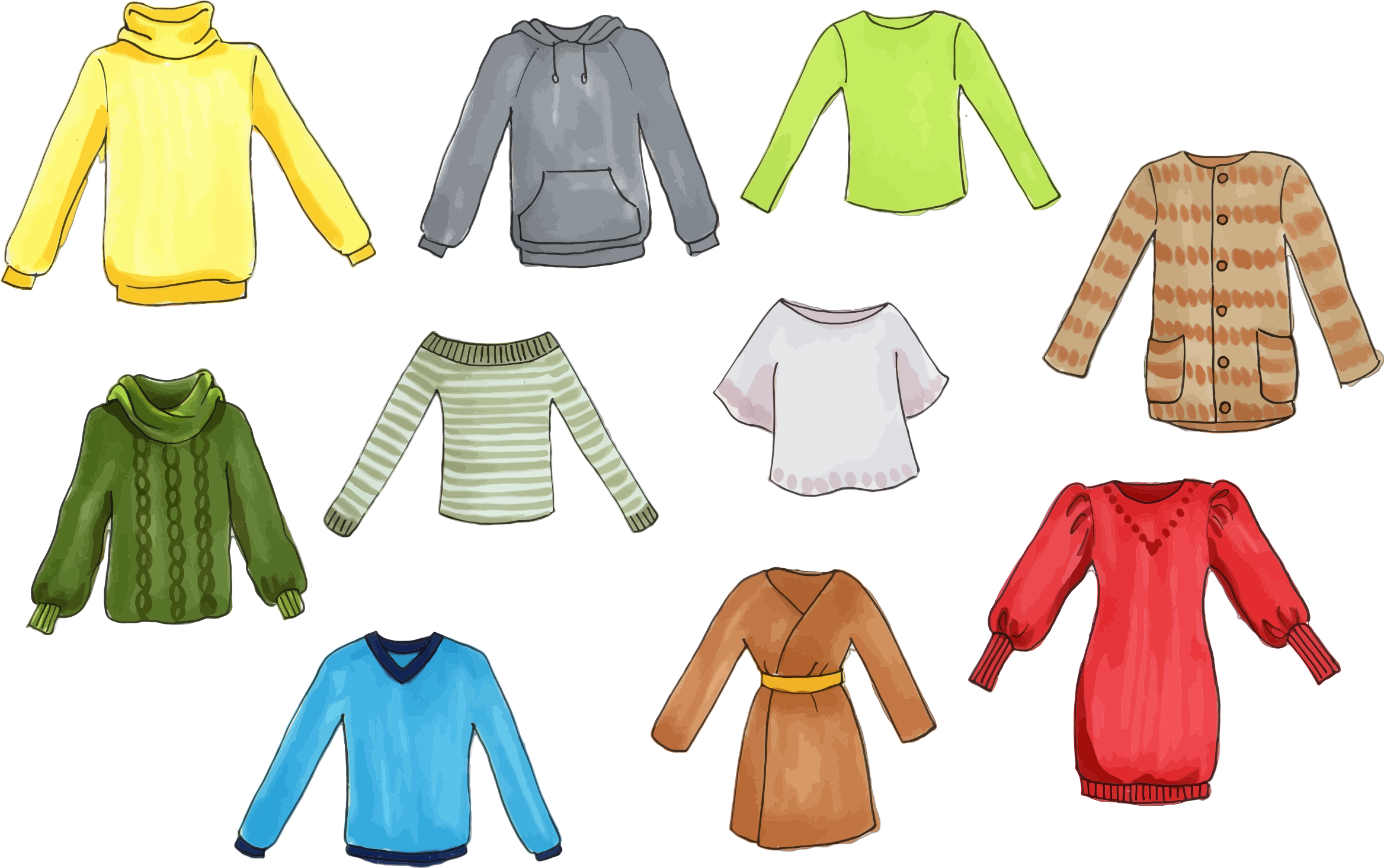 Tops big image png. Clothing clipart colorful clothes