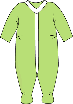 Green things to print. Pajamas clipart footed