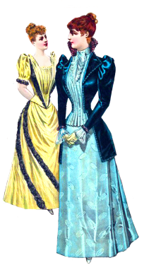Victorian two ladies in. Costume clipart clothing