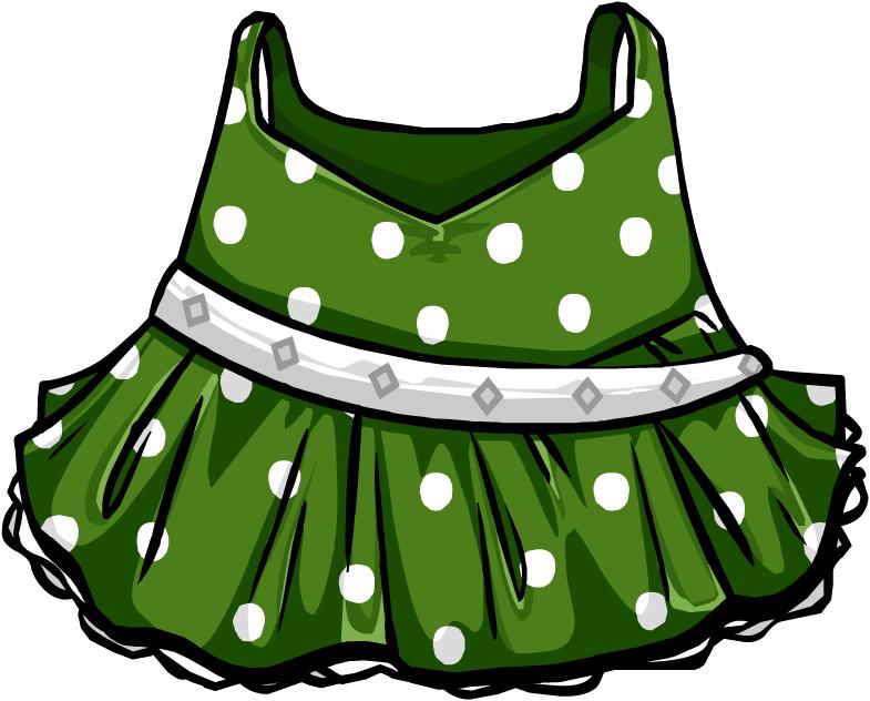 Image polka dot dress. Clothing clipart green clothes