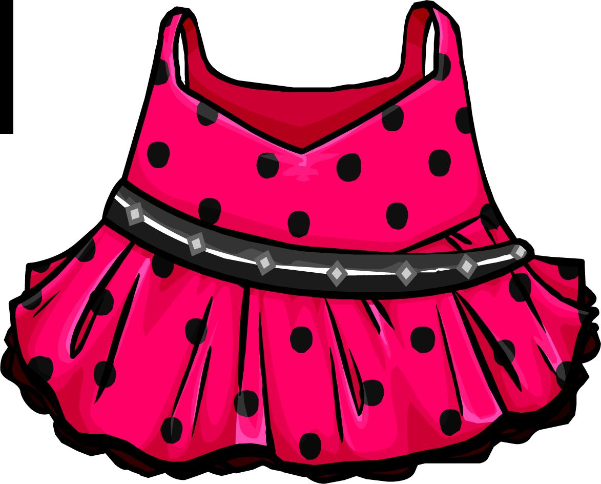 Polka dot club penguin. Clothing clipart pink dress