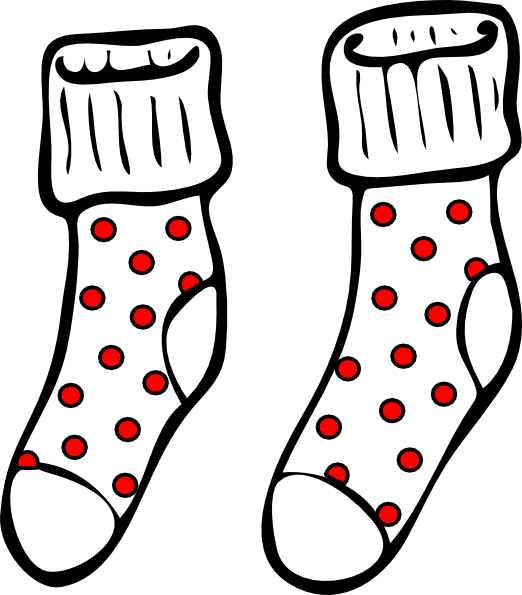 Spotty socks clip art. Wednesday clipart sock